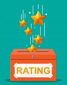 Rating Box. Reviews Five Stars. Testimonials, Rating, Feedback, Survey, Quality And Review. Vector I poster