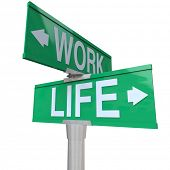 A green two-way street sign pointing to the words Work and Life, symbolizing the balance of career a