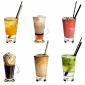 stock photo of frappe  - Collection of non alcoholic cocktails or drinks isolated on white background