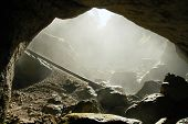 Foggy cave entrance, Romania