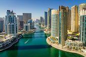 Scenic daylight view of Dubai Marina in UAE poster