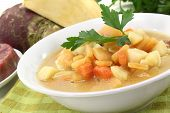 stock photo of rutabaga  - rutabaga soup with beef carrots potatoes and parsley - JPG
