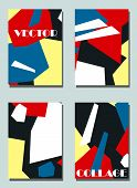 Four Trendy Covers With Graphic Elements - Abstract Shapes. Two Modern Vector Flyers In Avant-garde  poster