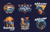 Set Vintage Print Collection Summer Hawaii California Paradise Surfing Retro Icons Logo With Sea Oce poster