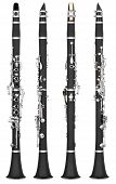 picture of clarinet  - Four angles of a classical clarinet woodwind instrument - JPG