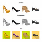 Bitmap Illustration Of Footwear And Woman Icon. Set Of Footwear And Foot Bitmap Icon For Stock. poster