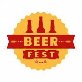 Beer Fest Hand Drawn Flat Color Vector Icon. Brew Festival Fun Sticker, Beer Bottle Silhouette Desig poster