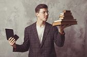 Young Boy Student With Books In Glasses. Happy Guy Want Learning, Have Education. Online Education.  poster