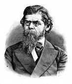 Grigory Nikolaevich Potanin - Russian geographer, ethnographer, writer and folklorist. Engraving by  Shyubler. Published in magazine