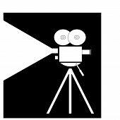 Movie Camera On Black