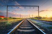 Railway Station And Beautiful Sky At Sunset. Summer Rural Industrial Landscape With Railroad, Blue S poster