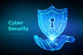 Security Shield. Cyber Security. Shield With Keyhole Icon In Hand. Protect And Security Of Safe Conc poster
