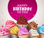 Birthday Cupcakes Vector Greeting Design. Cupcake Baked Deserts With Sprinkles In Assorted Color And poster