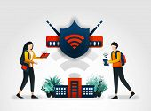 Vector Illustration Concept. Students Are Accessing Internet Safely Using A Wifi Network And Shield. poster