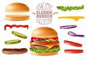 Realistic Classic Burger Elements Set. Realistic Ready Classic Burger With Isolated Elements Which A poster
