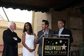 LOS ANGELES - MAR 16:  Malcolm McDowell, Garcelle Beauvais, Mark-Paul Gosselaar, Reed Diamond at the Malcolm McDowell WOF Star Ceremony at the Hollywood Boulevard on March 16, 2012 in Los Angeles, CA