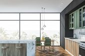 White Marble And Green Kitchen, Bar And Table poster