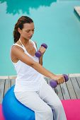 Side view of fit mixed-race woman exercising with dumbbells while sitting on a exercise ball near sw poster
