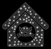 Glowing Mesh Cat House With Lightspot Effect. Abstract Illuminated Model Of Cat House Icon. Shiny Wi poster
