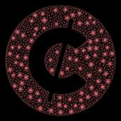 Glossy Mesh Cent Coin With Glitter Effect. Abstract Illuminated Model Of Cent Coin Icon. Shiny Wire  poster