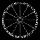 Bright Mesh Coach Wheel With Glare Effect. Abstract Illuminated Model Of Coach Wheel Icon. Shiny Wir poster