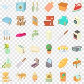 Comfortable House Icons Set. Cartoon Style Of 36 Comfortable House Icons For Web For Any Design poster