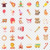 Children Carnival Icons Set. Cartoon Style Of 36 Children Carnival Icons For Web For Any Design poster