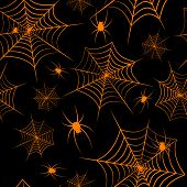 Halloween Theme Spiderweb And Spiders On A Black Background Seamless Pattern Creative Design Backgro poster