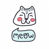 Vector Illustration Of A Cute Cat That Says Meow. poster