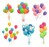 Cartoon Birthday Balloons. Colorful Air Balloon, Party Decoration And Flying Helium Balloons On Ribb poster