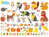 Autumn Forest Animals. Fall Squirrel, Funny Bear And Cute Autumnal Fox. Fallen Leaves, Deer Bear Rac poster