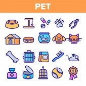 Pet Line Icon Set . Animal Care. Grooming Pet Symbol. Dog, Cat Veterinar Shop Icon. Thin Outline Ill poster