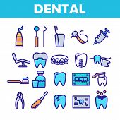 Dental Services, Stomatology Linear Icons Set. Dentistry Clinic Thin Line Symbols Pack. Dentist Equi poster
