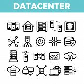 Data Center, Technology Linear Icons Set. Data Analytics, Remote Access Thin Line Contour Symbols Pa poster