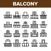House Balcony Forms Linear Icons Set. Fashionable Balcony Thin Line Contour Symbols Pack. Modern Arc poster