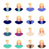 Blonde Business Men And Women Avatar Icons. People Avatar Set Vector. Man, Woman. People User Person poster