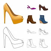 Isolated Object Of Footwear And Woman Logo. Collection Of Footwear And Foot Stock Bitmap Illustratio poster