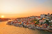 Magnificent Sunset Over The Porto City Center And The Douro River, Portugal. Dom Luis I Bridge Is A  poster