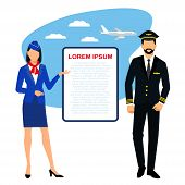 Flight Attendants And Pilot. Illustration Of Stewardess Dressed In Blue Uniform.  Pilot And Stewarde poster