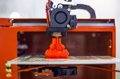 Process Of Printing Physical Plastic Model On Automatic 3d Printer Machine. Additive Technologies, 4 poster