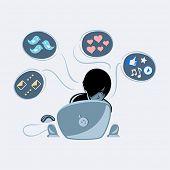 Shy emo boy into social media networks