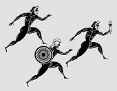 Ancient greek Sparta runners following the flame torch