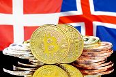 Concept For Investors In Cryptocurrency And Blockchain Technology In The Denmark And Iceland. Bitcoi poster