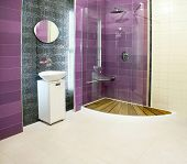 stock photo of lavabo  - Big bathroom with purple ceramics and glass shower - JPG