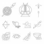 Vector Illustration Of Mythology And God Sign. Collection Of Mythology And Culture Stock Symbol For  poster