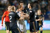 CARSON, CA. - APRIL 2: Los Angeles Galaxy F Chad Barrett #11 gets surrounded by Philadelphia Union p