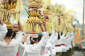 Women Carry Fruit Offerings during Mepeed Ceremony