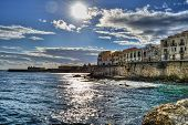 image of sicily  - Sunny day at the coast of Syracuse - JPG