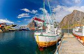 Fishing boats in harbor on Lofoten Islands, Hamony Village,  Norway, Lofoten Island poster