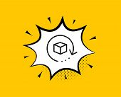 Return Package Line Icon. Comic Speech Bubble. Delivery Parcel Sign. Cargo Goods Box Symbol. Yellow  poster